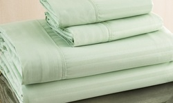 Hotel New York Embossed Pinstripe Sheet Set - Sage - Size: Queen