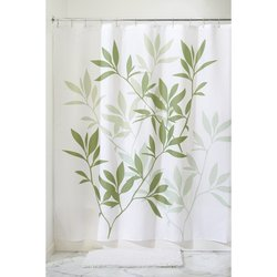 "InterDesign Leaves Fabric Shower Curtain - Green - Size: 54"" x 78"""