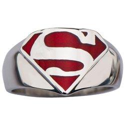 Inox Men's Superman Stainless Steel & Red Enamel Signet Ring - Size: 9
