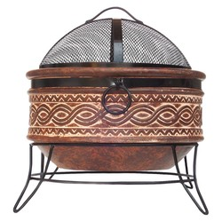 Hacienda San Carlos Round Fire Bowl - Rustic Orange