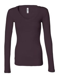 Bella Ladies Sheer Rib Long Sleeve Longer Length V-Neck T Shirt. 8750 - Large - Deep Plum