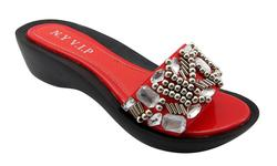 NY VIP Women's 825 Wedge Sandals - Red - Size: 7