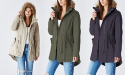 Lady Cotton Parka Jacket With Fur Lined Hood: Navy/large