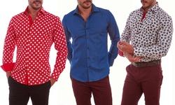 Suslo Couture Men's Button Down Shirts: Circles Purple/xl