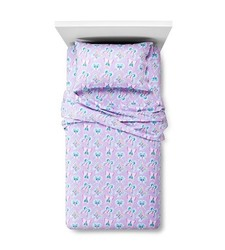 Circo Butterfly Flannel Sheet Set - Purple - Size: Twin