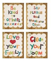 Children Inspire Design Good Manners Collection Set of 4 Vintage Art Print