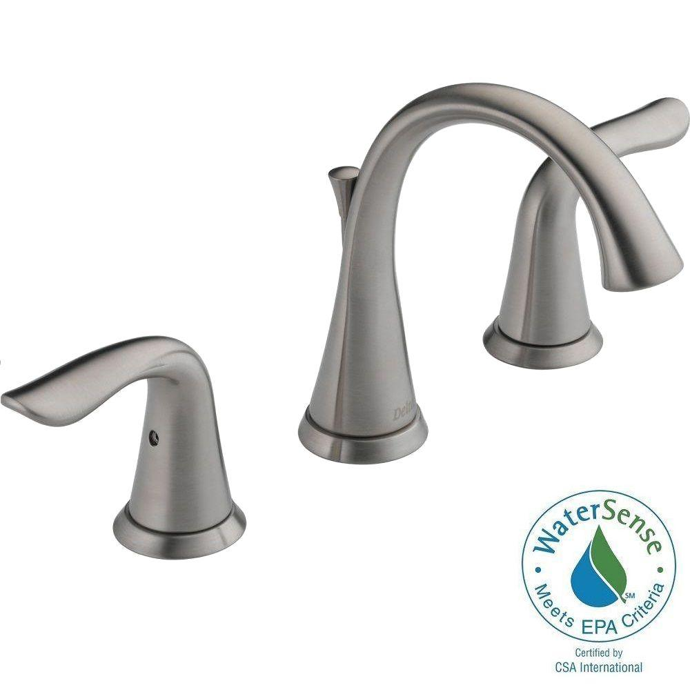 Delta Lahara 8 in. Widespread 2-Handle High-Arc Bathroom Faucet ...