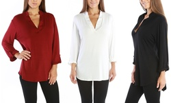 Women's Plus Size 3/4 Sleeve Top: Ivory- 1x