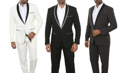 Mens Slim Fit Fashion Suit: Black/ 46r & W40