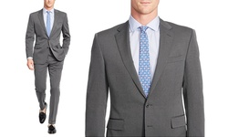 Verno Men's Classic Fit Birdseye Stripe Suit 2-Pc - Grey - Size: 40Lx34W