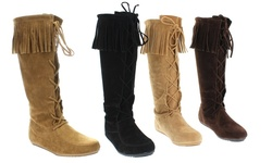 Mata Fringe Trim Lace-Up Faux Suede Boots: Black - 8