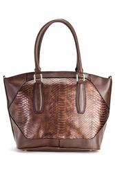 London Fog Avery Textured Shopper Bag - T-Moro Snake
