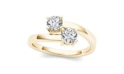 Two-Stone Ring 10k Yellow Gold 1/5ct TDW Diamond - Size: 7