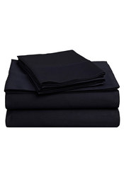 Impressions 4-Piece 425 TC Cotton Sheet Set - Navy - Size: Queen