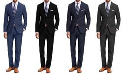 Braveman Men's 2pk Classic Fit 2 Piece Suits: Black-navy/40l X 34w