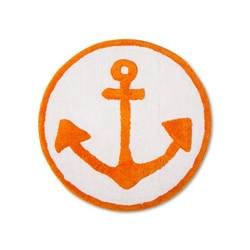 "Sabrina Soto Anchor Bath Rug - White/Orange - Size: 25""x25"""