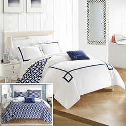 Chic Home 4 Piece Kendall Contemporary REVERSIBLE King Duvet Cover Set Navy Shams and Decorative Pillows included