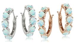 Silver Speck S Design Hoop Earrings in Sterling Silver - White Opal