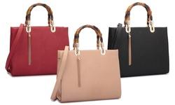 Dasein Randy New York Collection Bamboo Handbag: Beige