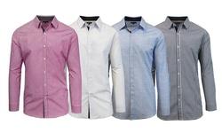 Harvic Men's Long Sleeve Button Down Shirts - Burgundy - Size: Medium