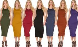 Lyss Loo Women's Bodycon Midi Dress D1201 Mustard - Large