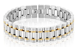 West Coast Jewelry Men's Bracelet - Two Tone - Stainless Steel