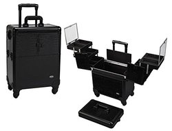 Seya 4 Wheel Spinner Rolling Makeup Case with 5 Trays (Black Gator)