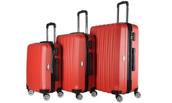 Brio Luggage 3-Piece Hardside Spinner Luggage Set - Red