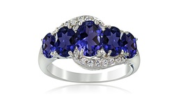 Silver Speck 2CT Women's SS 5 Stone Ring - Blue & White Topaz - Size: 10
