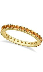 0.75CT 14K Yellow Gold Citrine Eternity Stackable Band  - Size: 6