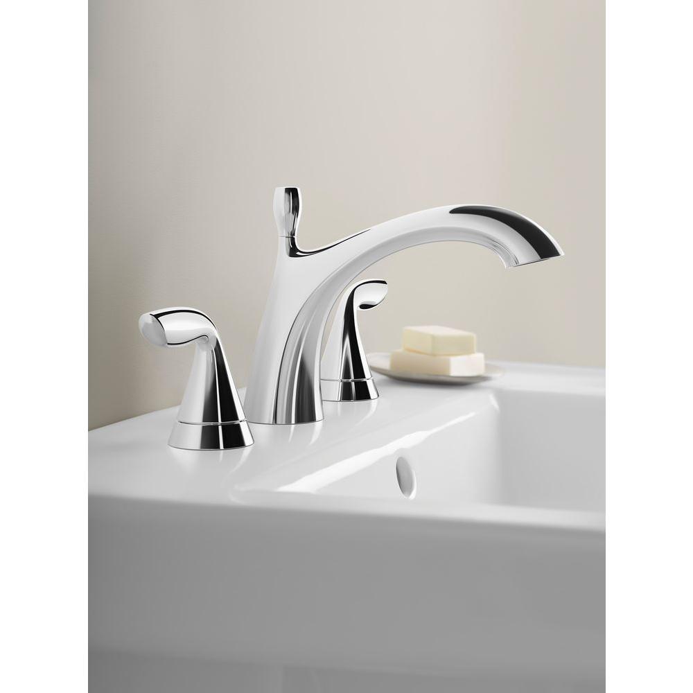 Kohler Willamette Widespread Handle Bathroom Faucet Polished - Kohler bathroom sink faucets widespread