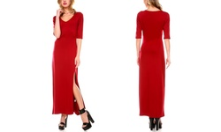 Stanzino Women's V-neck Maxi Dress with Slit - Burgundy Size: - Xl