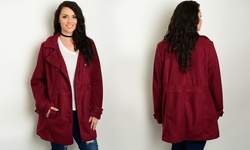 Women's Long Sleeve Collared Peacoat - Burgundy - Size: 1X