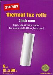 Staples 18230-CC New 6 Thermal Fax Rolls - Size: 1/2-inch Core