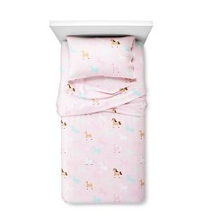 Circo Horse Flannel Sheet 4 Pc Set - Pink - Size: Queen