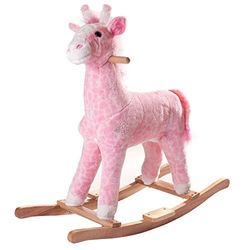 Happy Trails Plush Rocking Penny The Pink Giraffe - Pink - Size: One