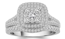 1.00 CTTW Square Frame Diamond Bridal Ring Set in 10K White Gold