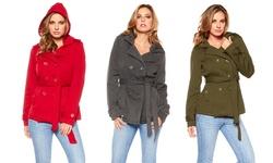 Women's Hooded Belted Fleece Jacket: Red/xl
