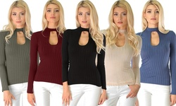 Lyss Loo Glamorous Ribbed Long Sleeve Cut-out Top: Burgundy/large