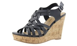 Celebrity NYC Women's Strappy Wedge Sandal - Black - Size: 8