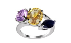 4.55CTTW Citrine/Amethyst/Sapphire Sterling Silver Ring - Size: 7