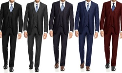 Braveman Slim Fit 3-piece Suit With Free Tie: Charcoal/54lx48w