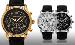 So & Co New York Men's Chronograph Watch - Black Band/Black Dial