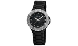 Burgi Women's Diamond Ceramic Mother of Pearl Quartz Watch - Black