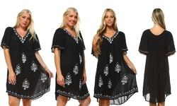 Women's Short-Sleeve Sundresses - White/Black - Size: One Size
