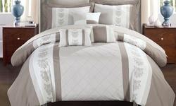 Chic Home Pryce Pintuck Comforter Set 10PC - Beige - Size: Queen
