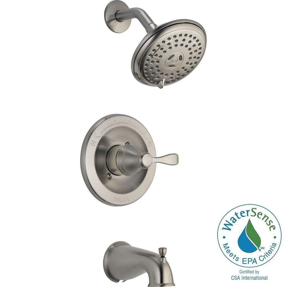 ... Delta Porter Single Handle 3 Spray Tub And Shower Faucet   Brushed  Nickel ...