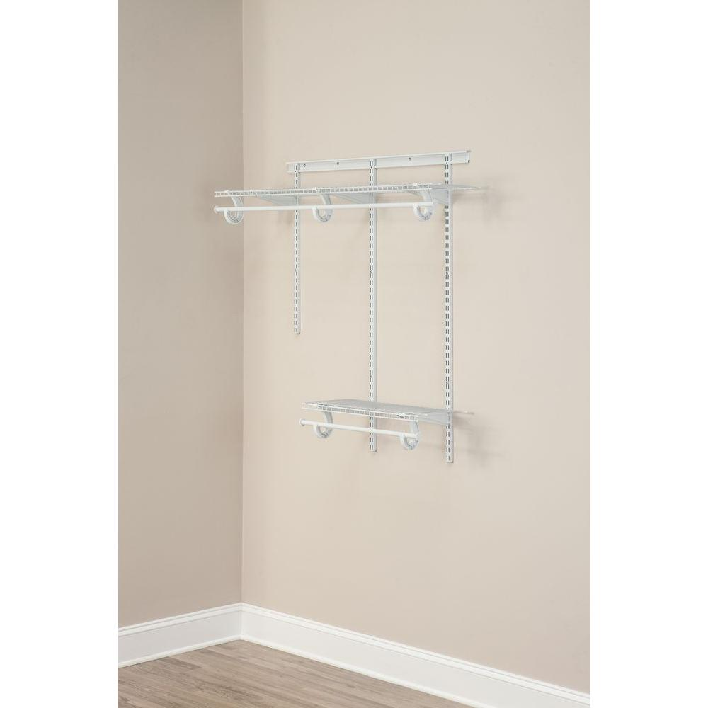 White Wire Closet Organizer Kit ClosetMaid ShelfTrack 2 Ft. X 4 Ft. White  Wire Closet Organizer Kit ...