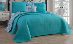 Geneva Home 5-Piece Reversible Quilt Sets - Taylor - Teal - Size: King