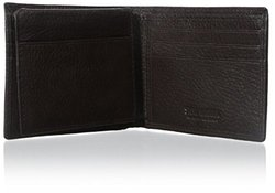 Brown Pebbled Leather Passcase Wallet
